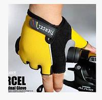 Велоперчатки беспалые Tiercel - желтые (L)
