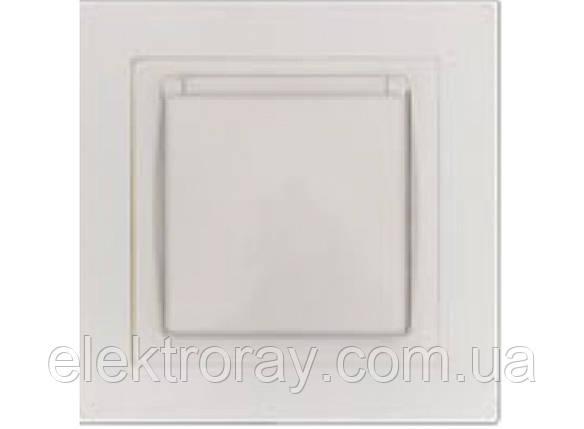 Розетка с заземлением и крышкой Luxel Bravo белая, фото 2