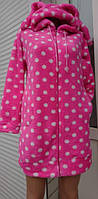 Женский теплый халат с капюшоном на молнии 42-48 р., розовый, женские халаты оптом от производителя