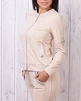 Брендовый гламурный спортивный костюм женский Турция XS S M L бежевый