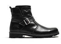 Мужские кожаные зимние ботинки  073 ч.