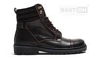 Мужские кожаные зимние ботинки  044 кор. 45