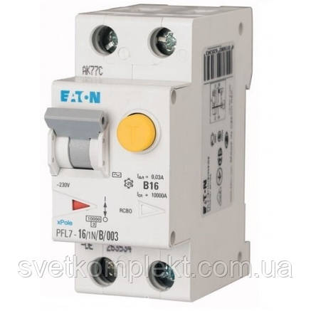 Диференційний автоматичний вимикач PFL7-16/1N/B/003 (263534) Eaton, фото 2