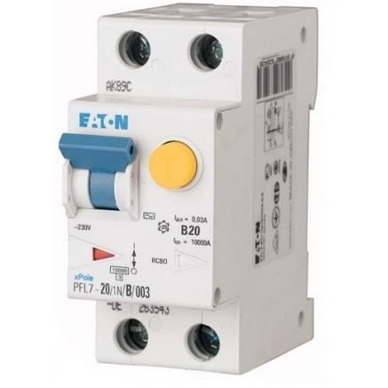 Диференційний автоматичний вимикач PFL7-20/1N/B/003 (263540) Eaton, фото 2