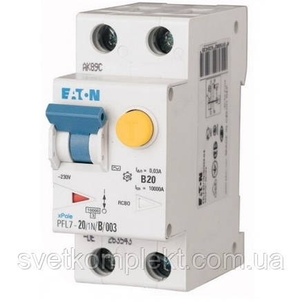 Дифференциальный автоматический выключатель PFL7-20/1N/B/003 (263540) Eaton, фото 2