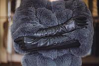 Перчатки длинные чёрные с пуговицами