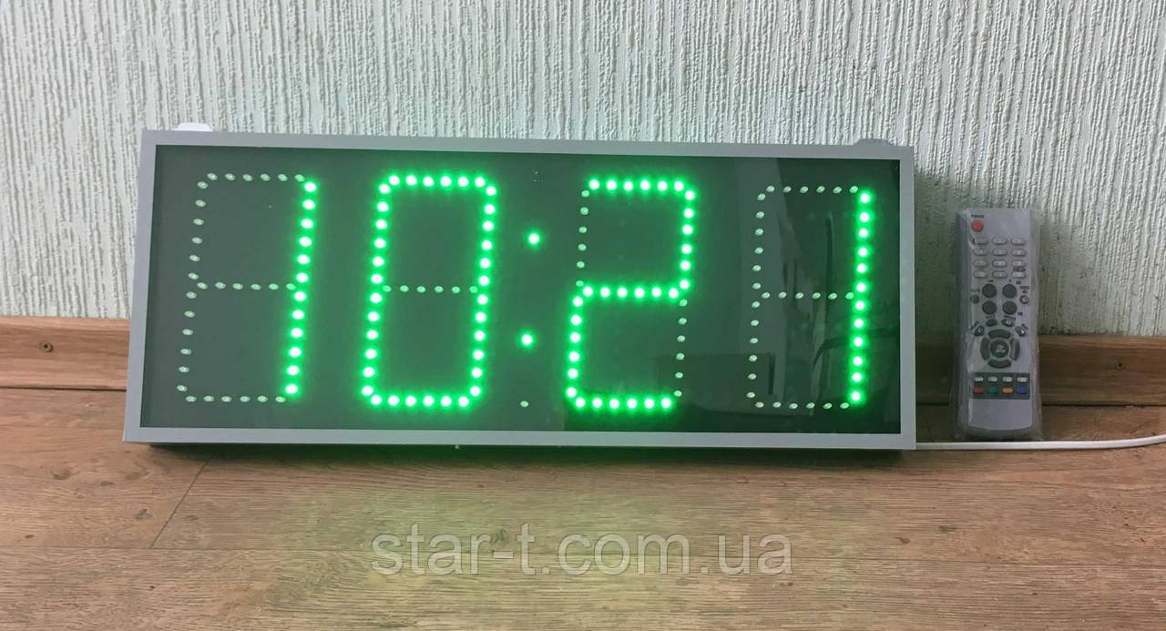 Часы зеленые светодиодные, компактные 500х200мм