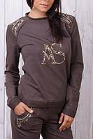 Батальный брендовый гламурный спортивный костюм Турция S M L XL XXL (с 42 до 54)  капучино, фото 1