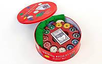 Покерный набор в круглой металлической коробке на 240 фишек с номиналом, p-p d=25см., h=8,5см. (IG-6616)