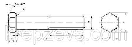 Схема габаритных размеров болта DIN 931