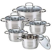 Набор посуды Maestro MR-3520-10, 10 предметов, нержавеющая сталь   кастрюли с крышками Маэстро, Маестро