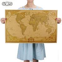 Географическая карта в стиле ретро, винтажная 72.5см *47.5см
