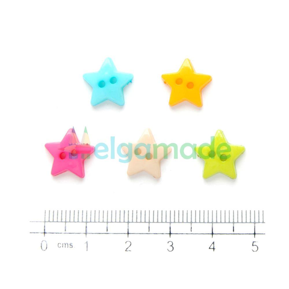 Пуговицы пластиковые ЗВЕЗДОЧКИ, 12 мм, 5 шт, микс