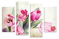 Модульная картина пять розовых тюльпанов