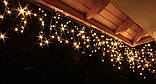 Новогодняя гирлянда Бахрома 300 LED, Белый теплый свет 14 м + Ночной датчик, фото 4