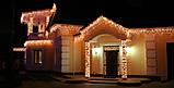 Новогодняя гирлянда Бахрома 300 LED, Белый теплый свет 14 м + Ночной датчик, фото 5