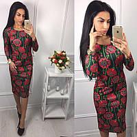Платье стильное трикотажное облегающее миди в цветочный принт разные расцветки SMok1843