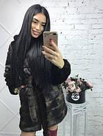 """Женская шуба """"Норка"""" махагон из искусственного меха (р-р.: 42-56)"""