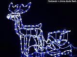 """Новогодняя скульптура """"Олень с санями"""" Длина набора 130 см 3 цвета, фото 3"""