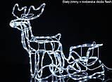 """Новогодняя скульптура """"Олень с санями"""" Длина набора 130 см 3 цвета, фото 4"""