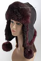 Женская шапка ушанка из меха кролика цвет бордо