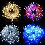 Новогодняя гирлянда 100 LED, 8M, Прозрачный провод, цвет на вибор, фото 3