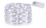 Новогодняя гирлянда 100 LED, На прозрачном проводе, Белый холодный свет, 5м