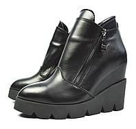 Черные зимние женские кожаные ботинки на танкетке Paolo Gianni на байке