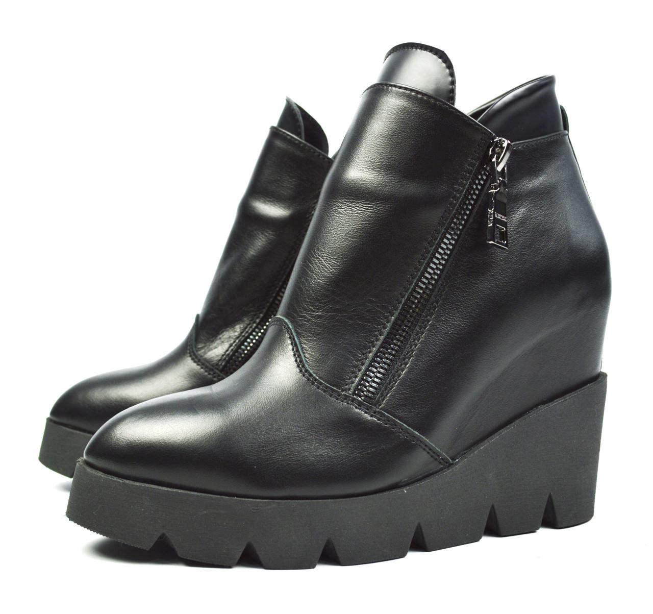 37280e37 Черные зимние женские кожаные ботинки на танкетке Paolo Gianni на байке -
