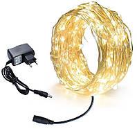 Новогодняя гирлянда 100 LED, Длина 11 М, Белый теплый свет 230В