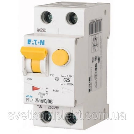 Диференційний автоматичний вимикач PFL7-25/1N/C/003 (263549) Eaton, фото 2