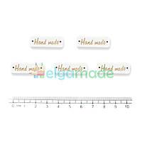 Бирки деревянные HAND MADE белые, 30х10 мм, 5 шт, микс