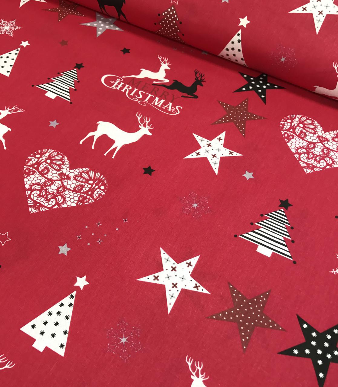 Новогодняя ткань польская MERRY CHRISTMAS на красном №335