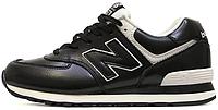 Женские кроссовки New Blance 574 Black White Leather