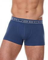 Бесшовные укороченные хлопковые шорты боксеры  BRUBECK BX10050A (Черный, белый, серый, синий, салатов) Синий, XL