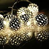 """Новогодняя гирлянда """"Шарики"""" 10 LED, Белый теплый свет, Диаметр 4 см, На пальчиковых батарейках, фото 6"""