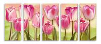 Модульная картина десять розовых тюльпанов