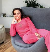 Теплая женская пижама малиновая р48 махровочка Regina 741 Польша