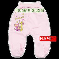 Ползунки (штаны) на широкой резинке р. 80-86 с начесом ткань ФУТЕР 100% хлопок ТМ Алекс 3180 Розовый Б 80