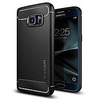 Накладка для Samsung Galaxy G930 S7 Flat пластик Spigen Rugged Armor Черный (555CS20007)