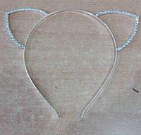 Серебристые обручи для волос, ушки в стразах. Новогодняя бижутерия 2018. 57