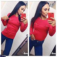 Женская стильная красная кофточка с имитацией кармашков.  Арт-12367