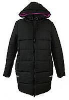 Женская зимняя куртка длинная цвет черный с розовым