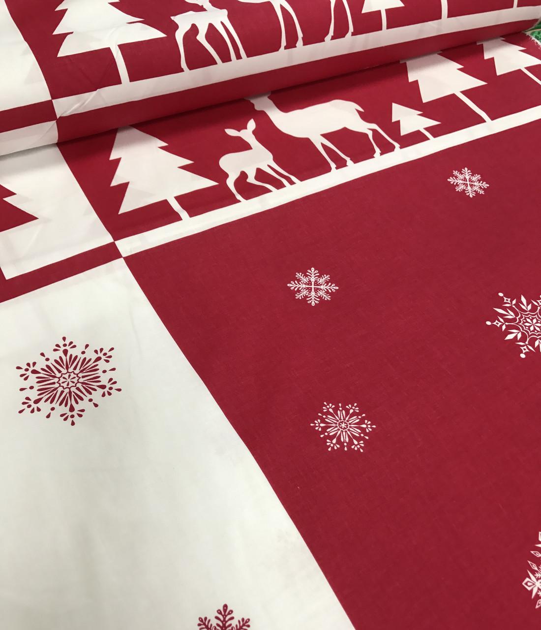 Новогодняя ткань польская олени и снежинки на красно-белом №342