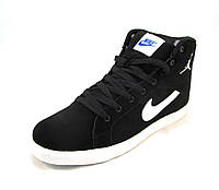Кросовки мужские Nike с мехом замшевые черные (р.42,43,44)