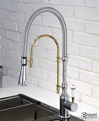 Смеситель для кухни с душем Aquaroom хром - золото