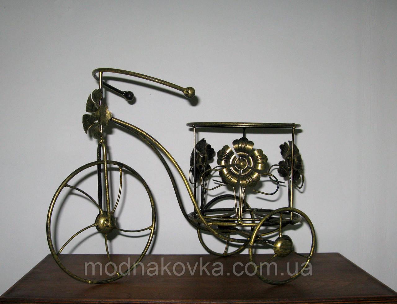 Цветочная подставка Велоcипед 1 Мальва черный/золото