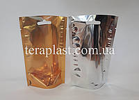 Дой-Пак 50г 100х150 золото+прозрачная сторона без зип замка