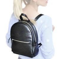 Благородный черный кожаный рюкзак женский jizuz sport black Jizuz