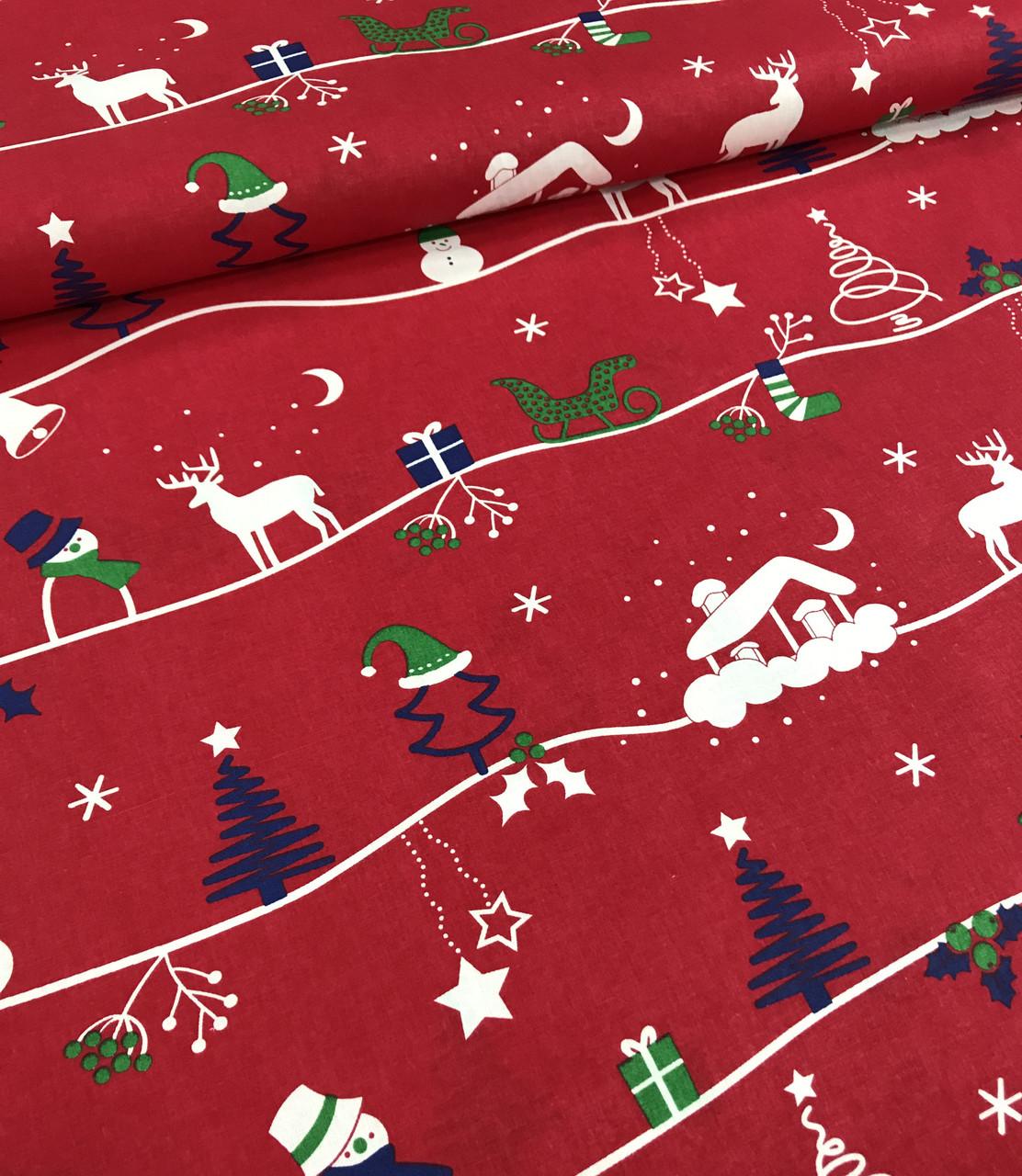 Новогодняя ткань польская олени, снеговики, елочки на красном